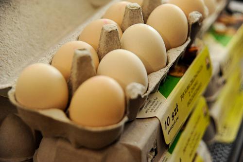 卵は全てEU基準で番号でランク付けされています。ここで販売されているのはナンバー「0」。放し飼いにされた鶏によるオーガニックの卵です。