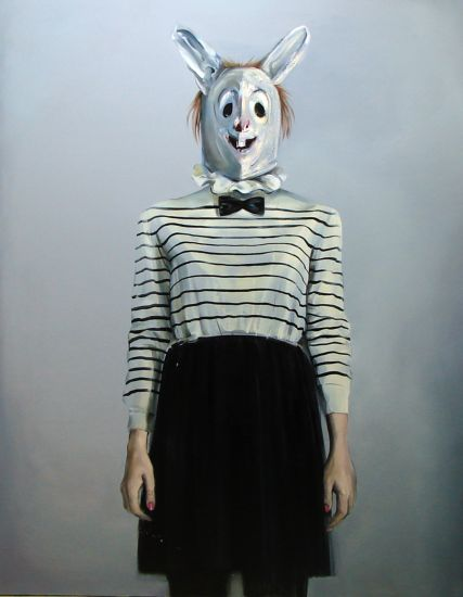 Self-Portrait with a rabbit mask , 130×165 cm, acrylic and oil on canvas, 2010