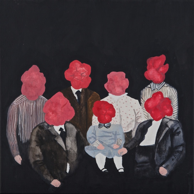 Title:We will sit 5 more minutes/Size:30x 30cm/Material:Gouache on canvas/Year:2013