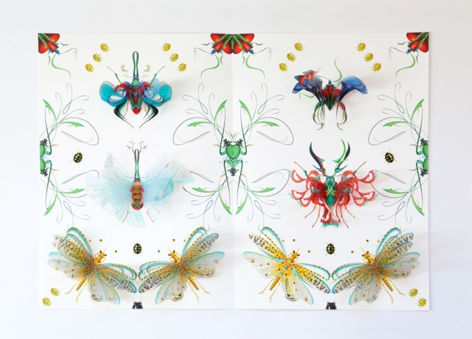 Book of insects, pop-up for the book New Botany, 2013, prototype, 42 x 58 x 7 cm