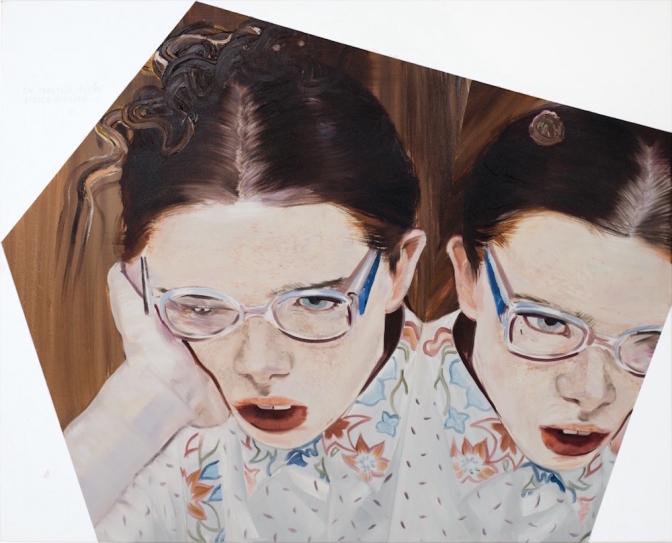 HE TAKES MOVIES VERY SERIOUSLY (ON TRAKTUJE FILMY BARDZO POWAŻNIE) / oil on canvas /105 x 130 cm / 2015