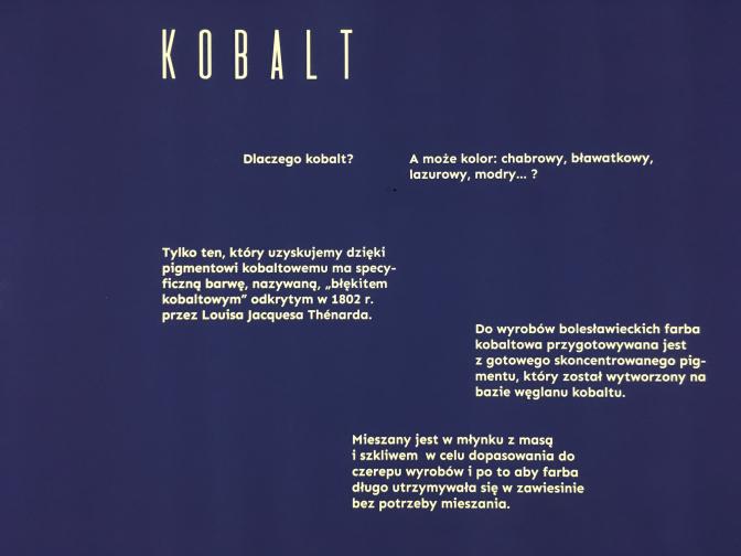 ボレスワヴィエツ陶器の特徴のひとつでもあるコバルトブルー。コバルトブルーの顔料は、1802年、ルイ・ジャック・テナールによって発明された。