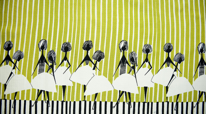 """""""Ladies""""テキスタイル/ Alicja Wyszogrodzka /1954年/IWP Screen Printing Workshop ©Muzeum Narodowe w Warszawie"""