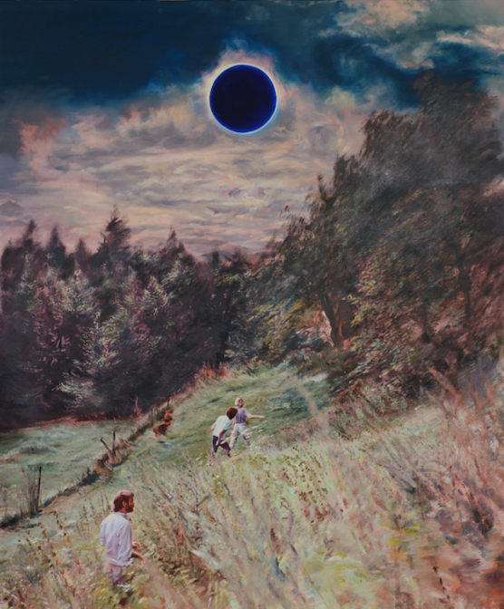 """Agata Kus """"Blue Sun"""" 2020, oil on canvas, 190x160 cm, courtesy of the artist and Wizytująca Gallery"""